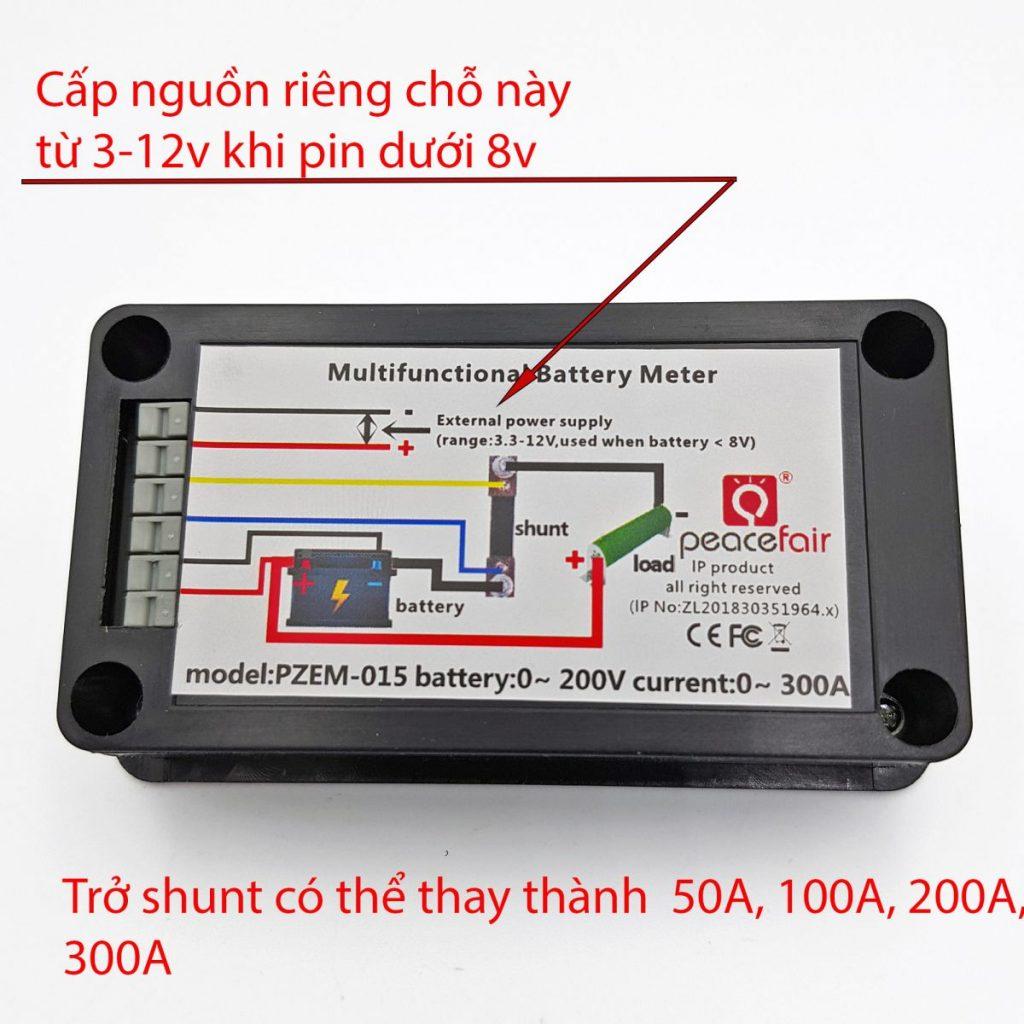 Hướng dẫn đấu nối cho Đồng hồ đo dung lượng pin, điện áp, dòng điện, công suất DC PZEM-015 100A
