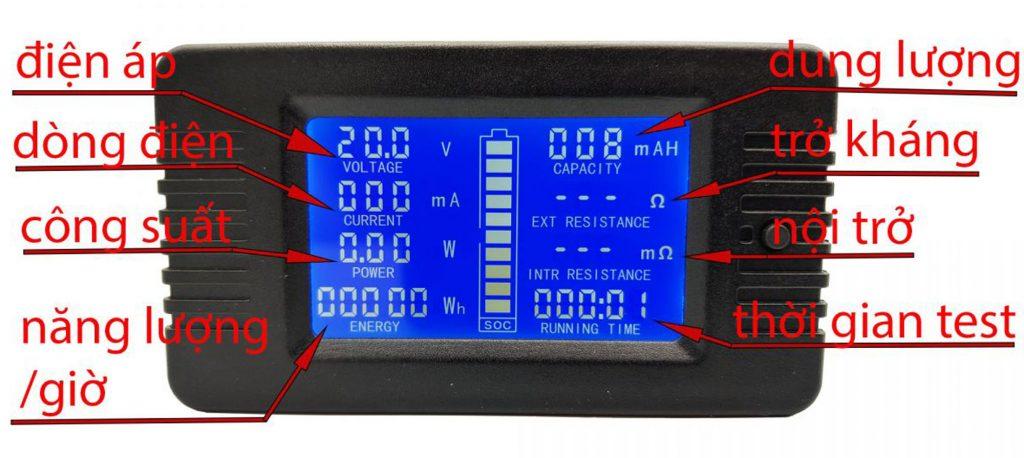 Hướng dẫn đọc thông số trên Đồng hồ đo dung lượng pin, điện áp, dòng điện, công suất DC PZEM-015 100A