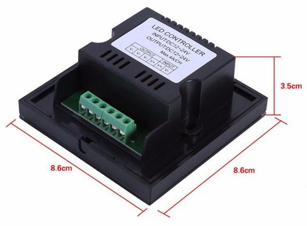 Kích thước của Dimmer cảm ứng điều khiển độ sáng led 12-24VDC TM06 màu đen