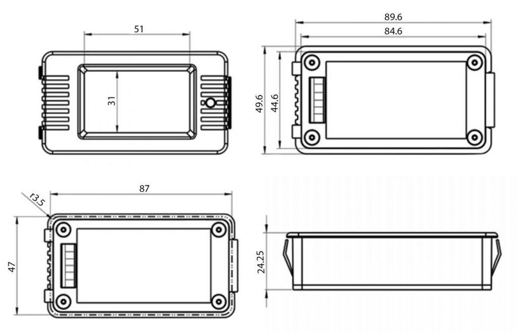 Kích thước của Đồng hồ đo dung lượng pin, điện áp, dòng điện, công suất DC PZEM-015 100A