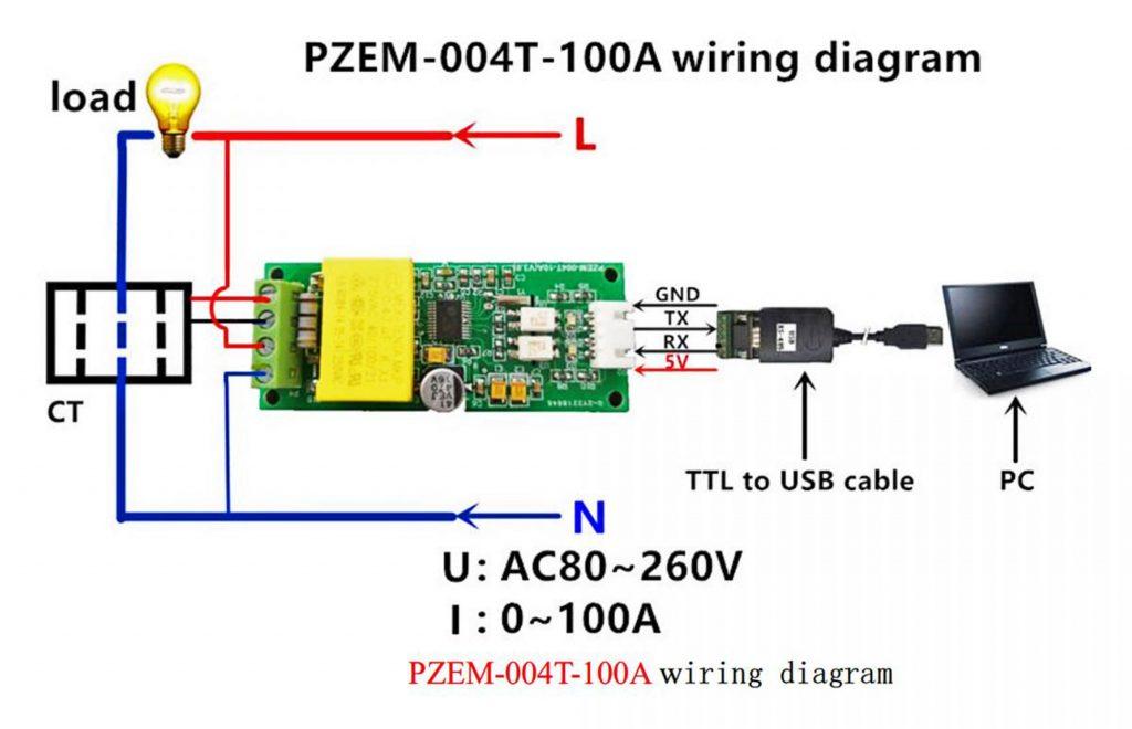 Sơ đồ giao tiếp PC của Module đo điện AC PZEM-004T cổng PZCT-02 100A