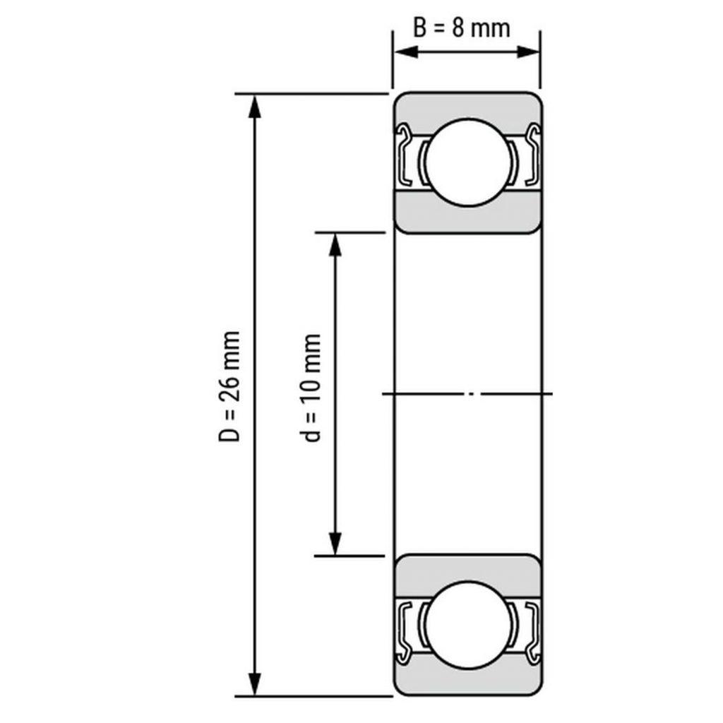 Kích thước của Vòng bi, bạc đạn 6000ZZ 10mm x 26mm x 8mm