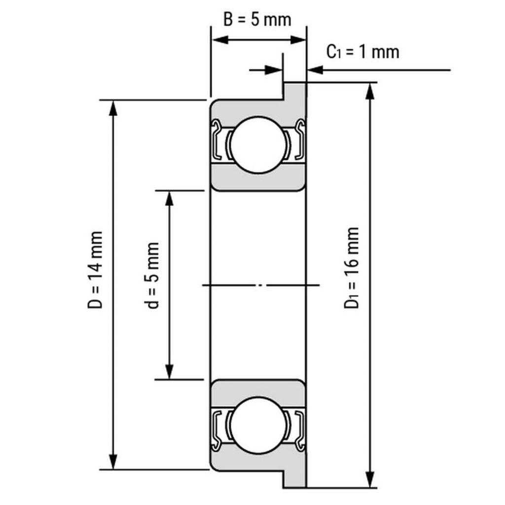 Kích thước Vòng bi, bạc đạn F605zz 5mm x 14mm x 5mm