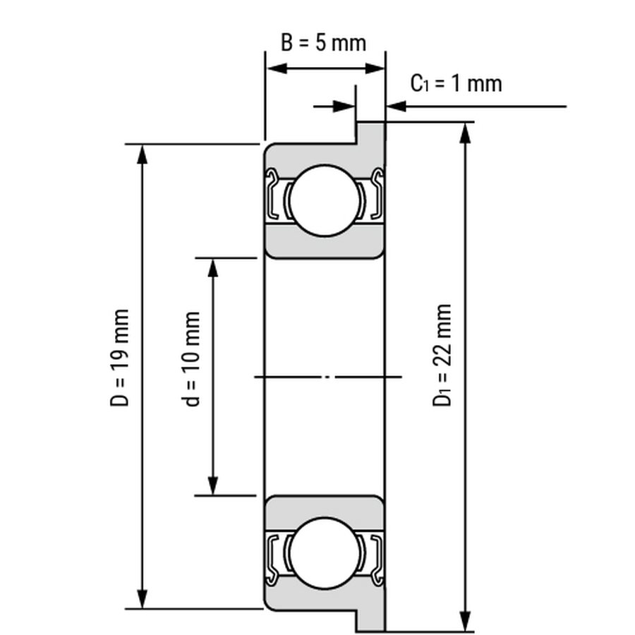 Kích thước của Vòng bi, bạc đạn F6800zz 10mm x 19mm x 5mm