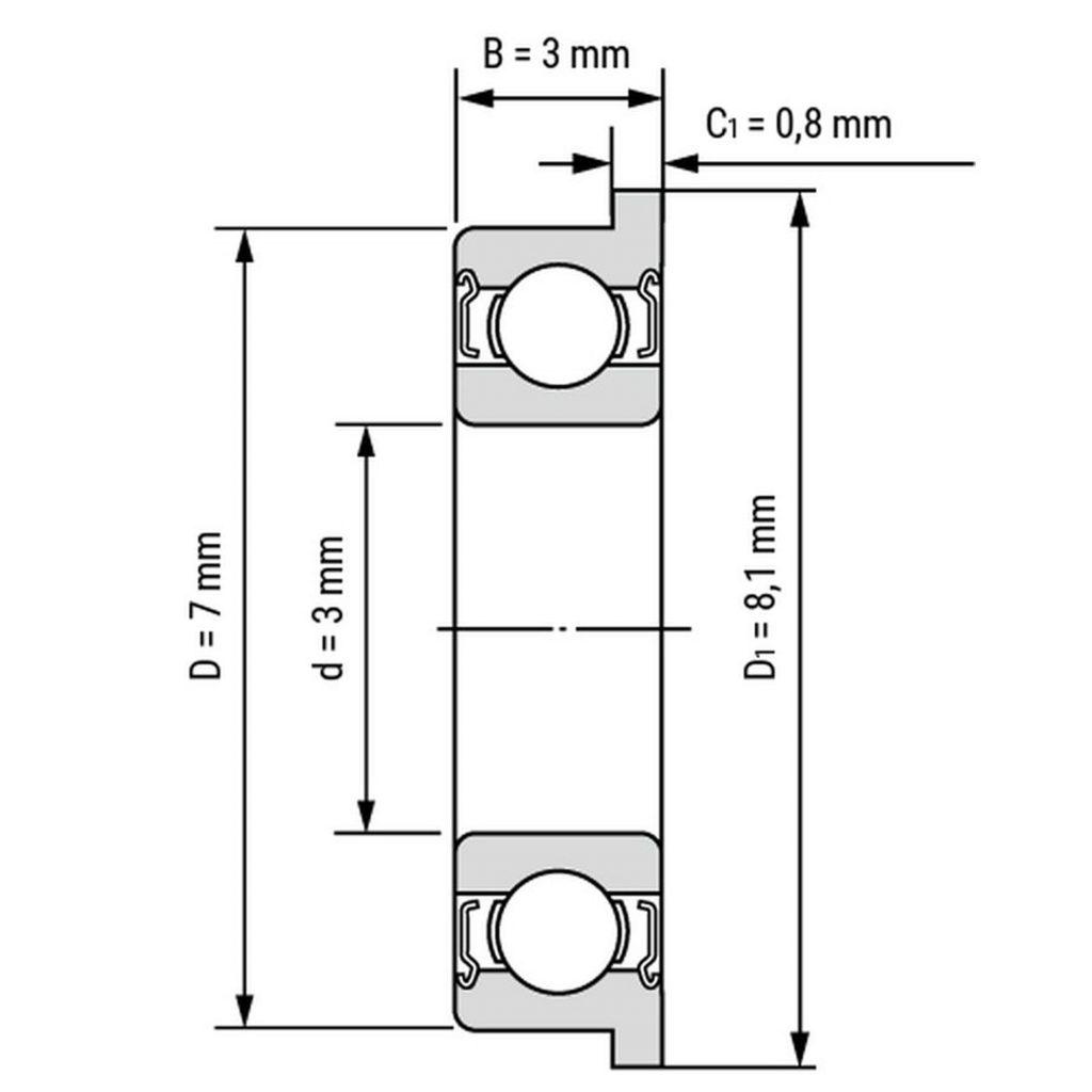 Kích thước của Vòng bi, bạc đạn F683zz 3mm x 7mm x 3mm