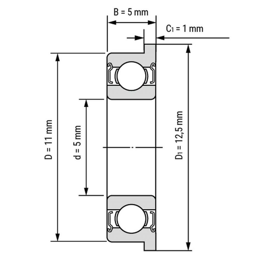 Kích thước của vòng bi, bạc đạn F685zz 5mm x 11mm x 5mm