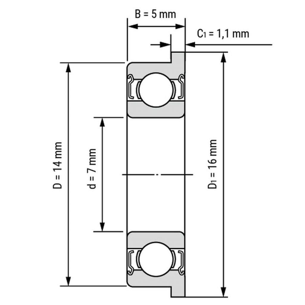Kích thước của vòng bi, bạc đạn F687zz 7mm x 14mm x 5mm