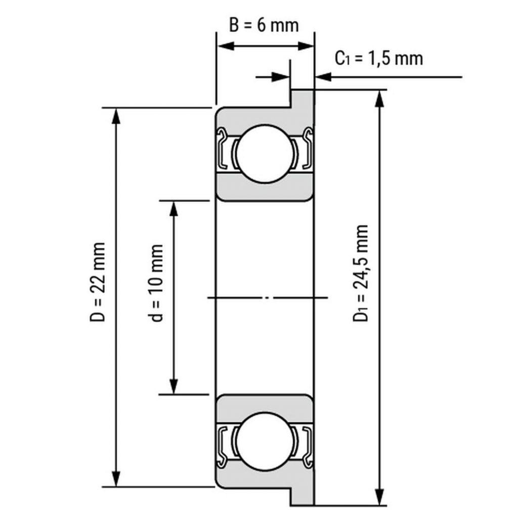 Kích thước của Vòng bi, bạc đạn F6900zz 10mm x 22mm x 6mm