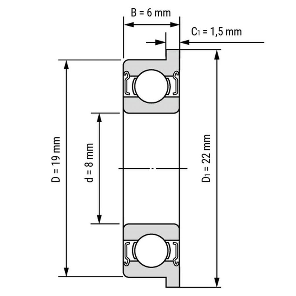 Kích thước của Vòng bi, bạc đạn F698zz 8mm x 19mm x 6mm