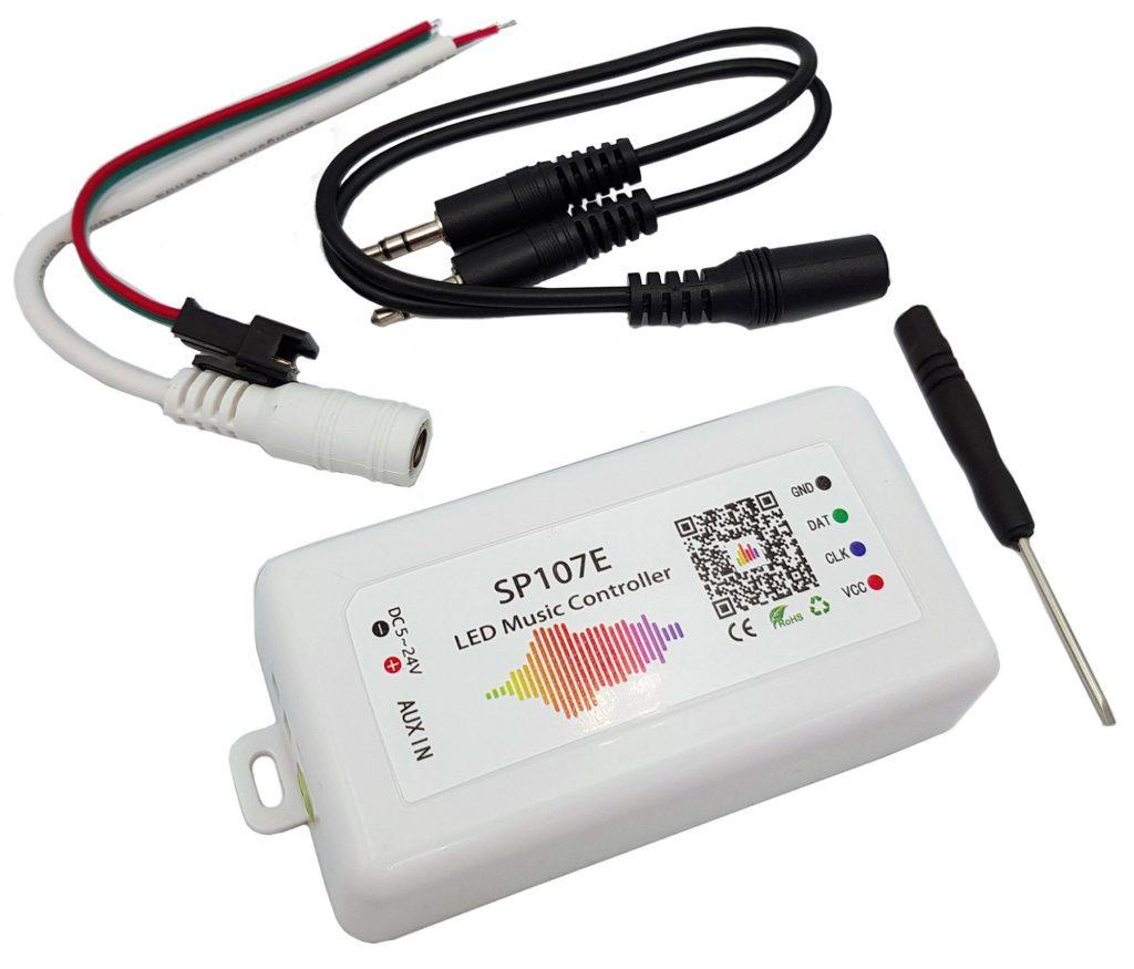 Bộ điều khiển LED WS2812 nháy theo nhạc SP107E app bluetooth 5-24V