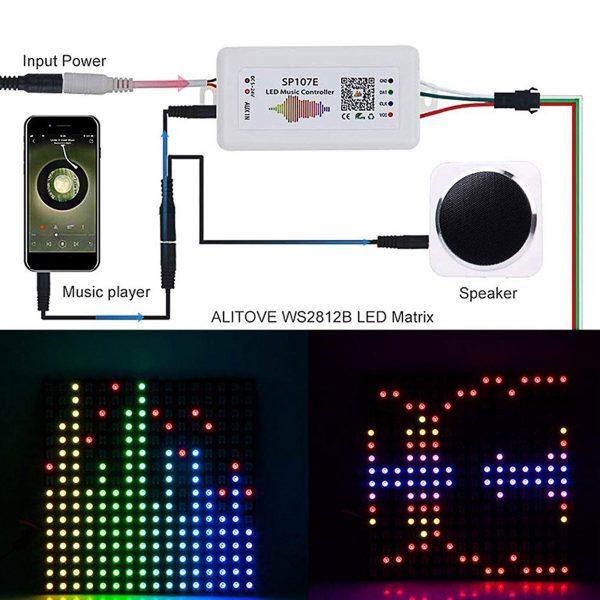 Bộ điều khiển LED WS2812 nháy theo nhạc SP107E app bluetooth 5 - 24V