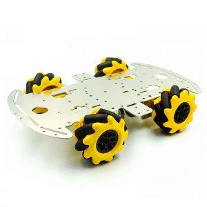 Bộ khung xe 4 bánh Mecanum 25.5 x 15cm, 4 động cơ vàng