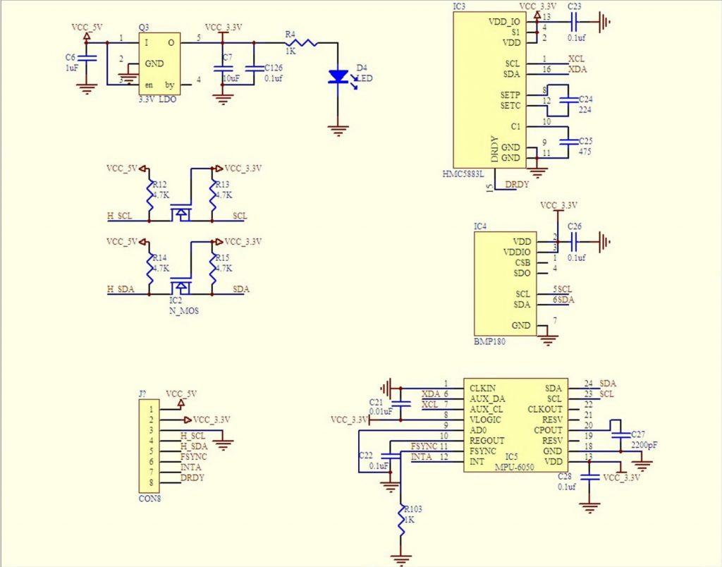 Sơ đồ nguyên lý của Cảm biến la bàn GY-87 10 DOF MPU6050 + BMP180 + HMC5883L