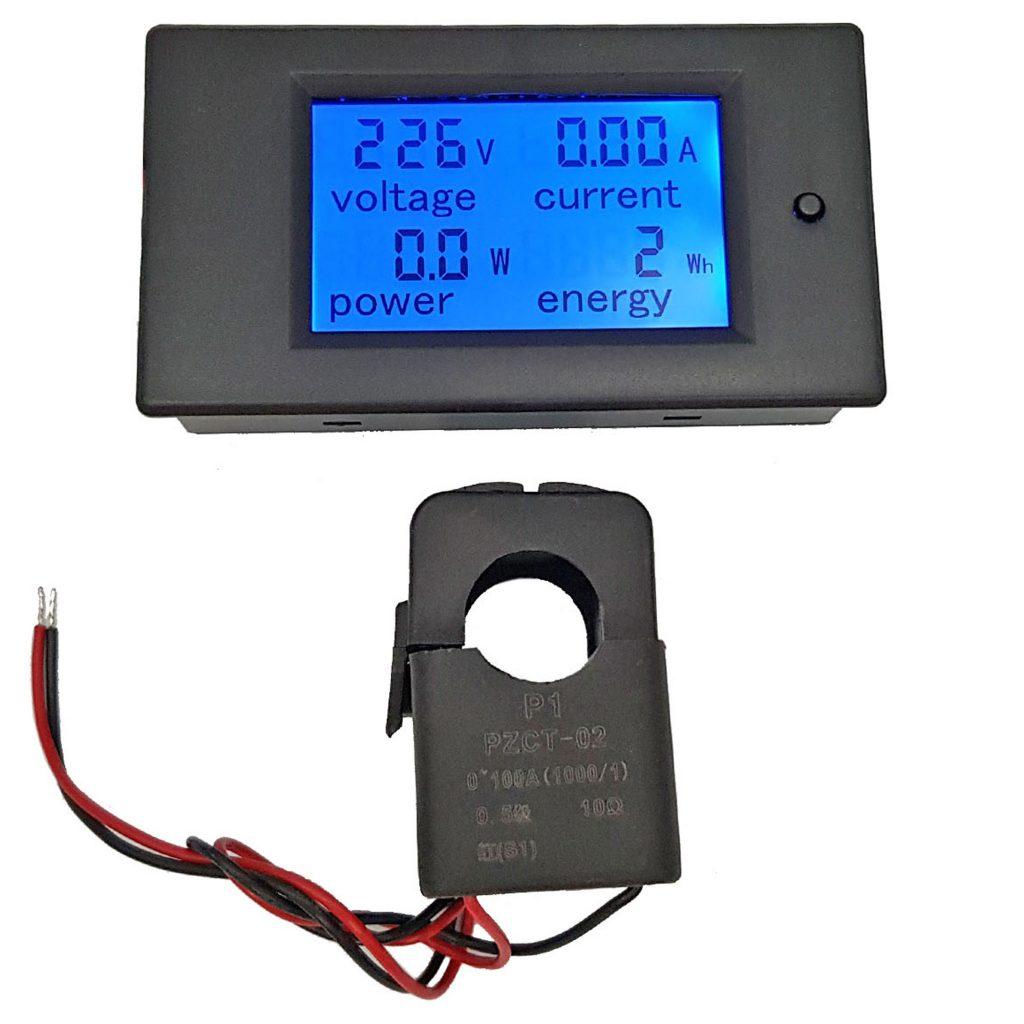 Đồng hồ đo dòng áp công suất mức năng lượng AC 100A kèm CT kẹp