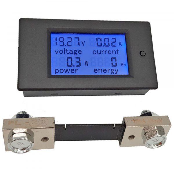 Đồng hồ đo dòng, áp, công suất, mức năng lượng DC