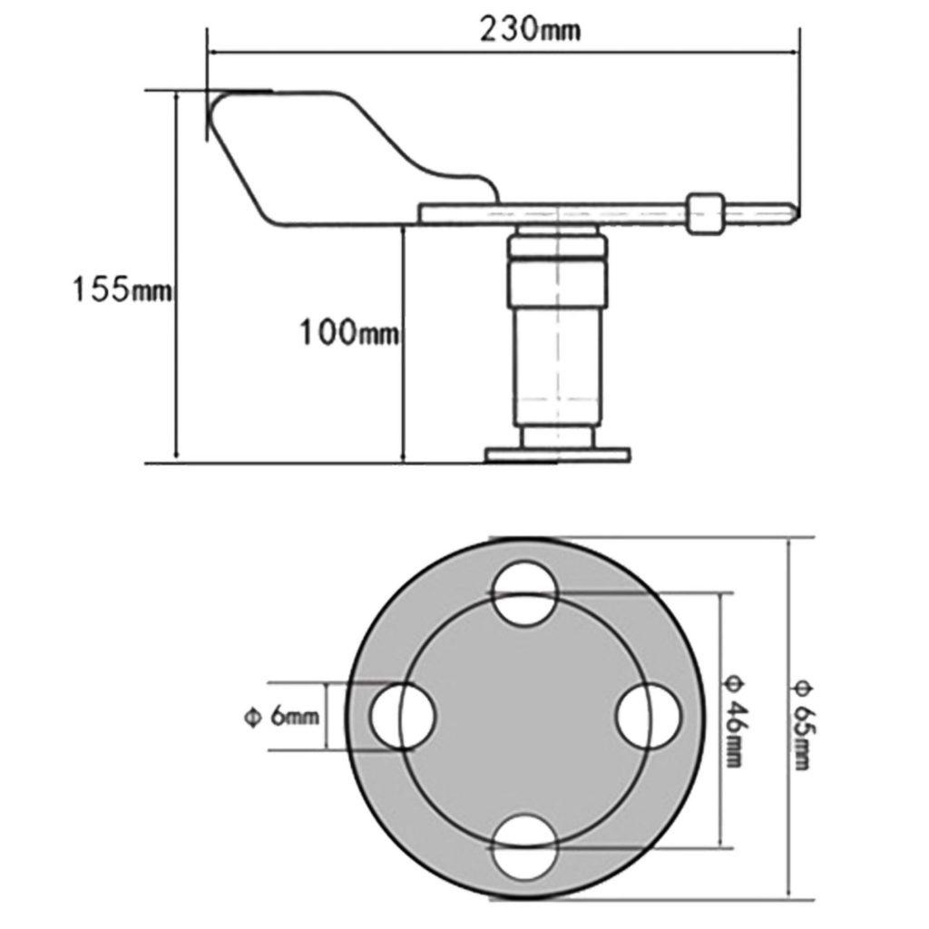 Kích thước của Cảm biến hướng gió RS-FX-I20 4-20mA