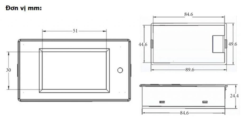 Kích thước của Đồng hồ đo dòng, áp, công suất, mức năng lượng DC kèm trở Shunt 50A (hoặc 100A)