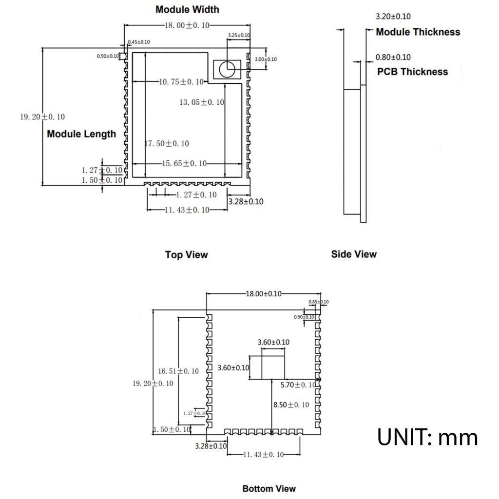 Kích thước của Mạch thu phát wifi ESP32 - WROOM - 32U