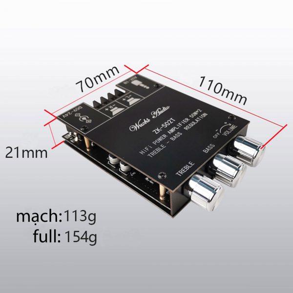 Mạch khuếch đại âm thanh Hifi  bluetooth 5.0 TPA3116 D2 ZK-502T 50W x 2