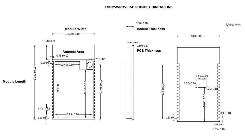 Kích thước Mạch thu phát WIFI BLE soc ESP32 -WROVER-B