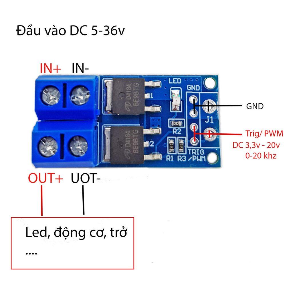 Sơ đồ đấu nối Mạch Công Suất MOSFET D4184 PWM