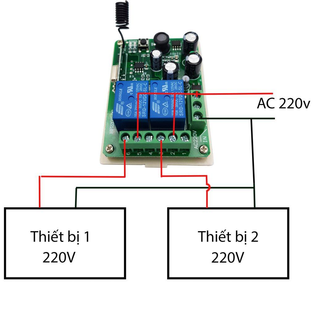 Sơ đồ kết nối Bộ điều khiển RF 433Mhz / RF 315Mhz 220V 2 kênh (Không kèm remote)