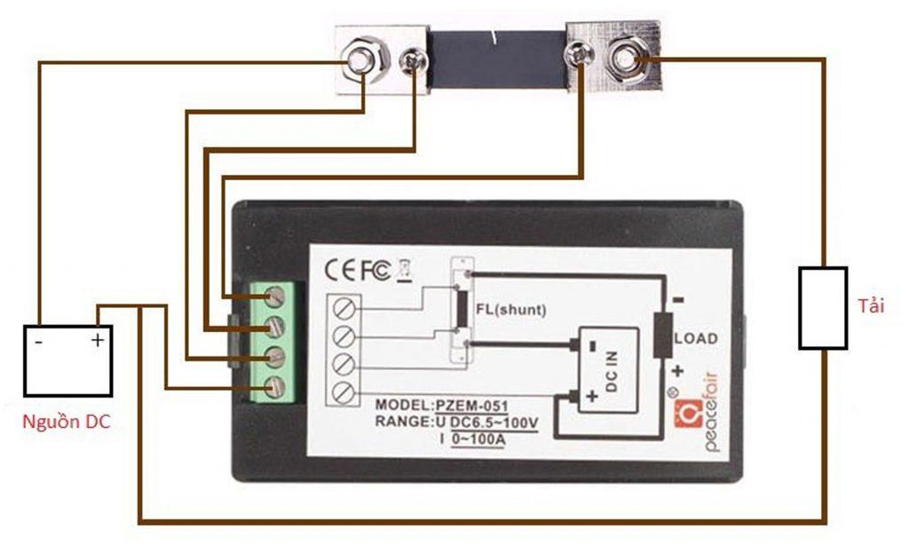 Sơ đồ kết nối của Đồng hồ đo dòng, áp, công suất, mức năng lượng DC kèm trở Shunt 50A (hoặc 100A)