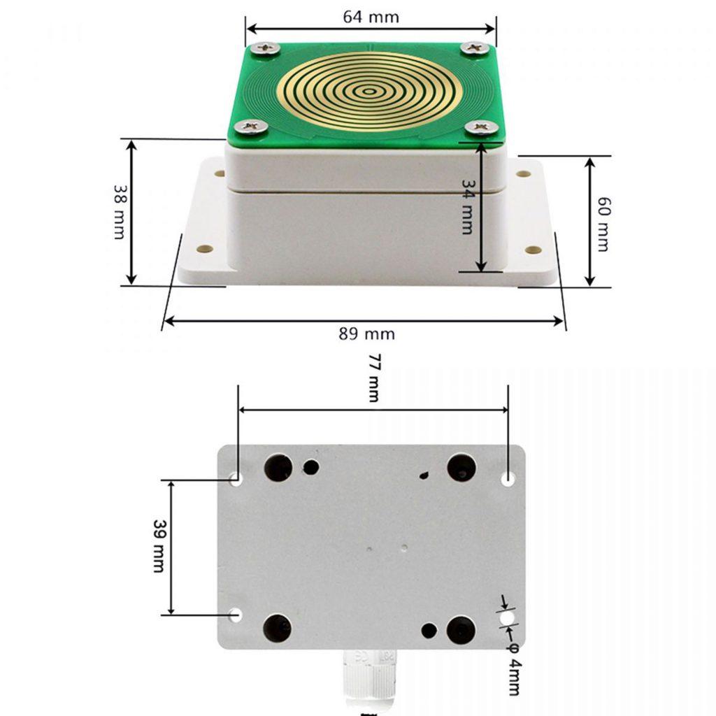 Kích thước của Cảm biến phát hiện ,giám sát mưa relay + Giao tiếp RS485
