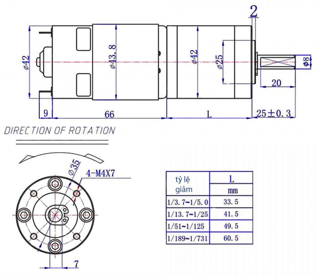Kích thước động cơ WS-42GX775R