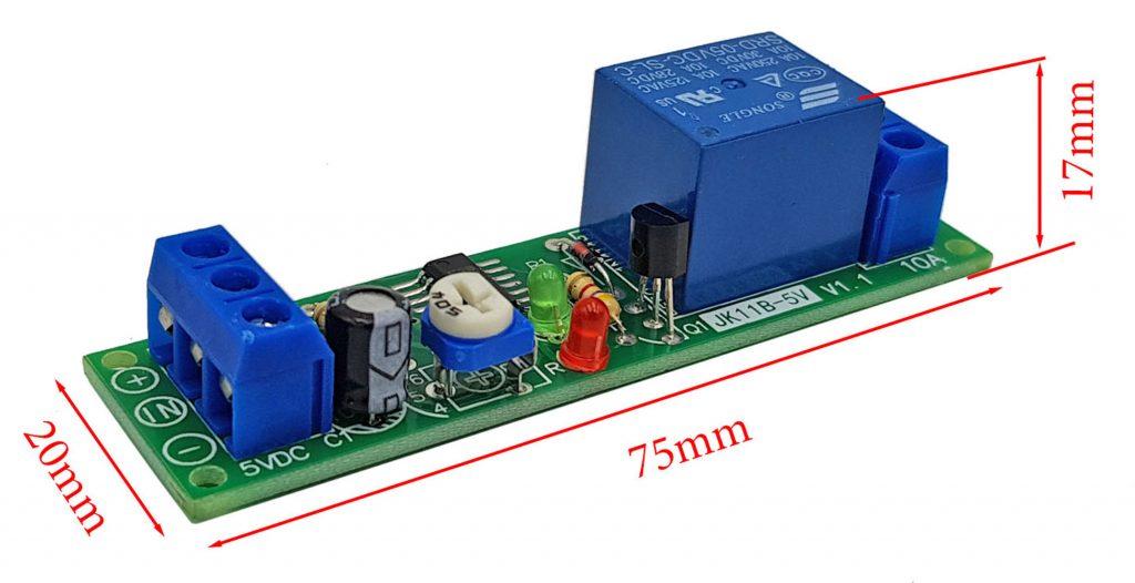Kích thước của Module tạo trễ 0-10000s JK11B-5VDC