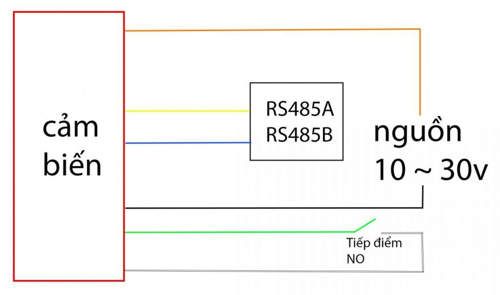 Sơ đồ chân của Cảm biến phát hiện ,giám sát mưa relay + Giao tiếp RS485