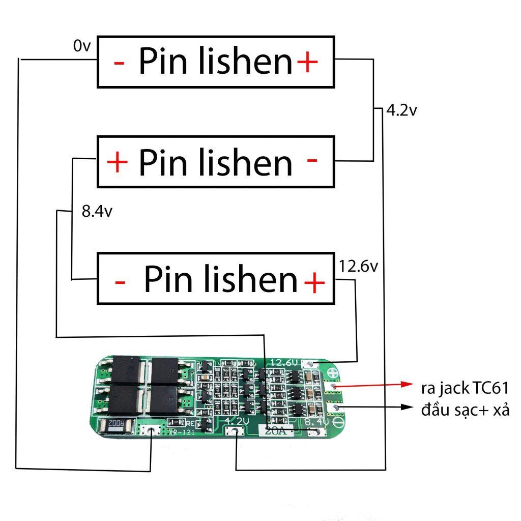 Sơ đồ đấu nối cho Pin 18650 3S 12.6V 2600mAh tích hợp mạch bảo vệ