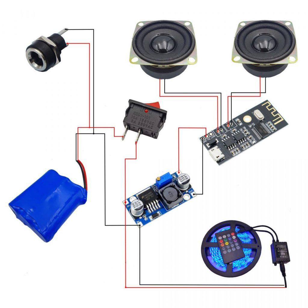 Sơ đồ kết nối tham khảo cho Combo tự chế loa bluetooth nháy theo nhạc V1