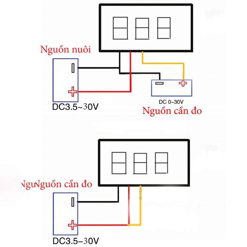 Cách đo của Đồng hồ đo áp 3 dây 30VDC màu đỏ