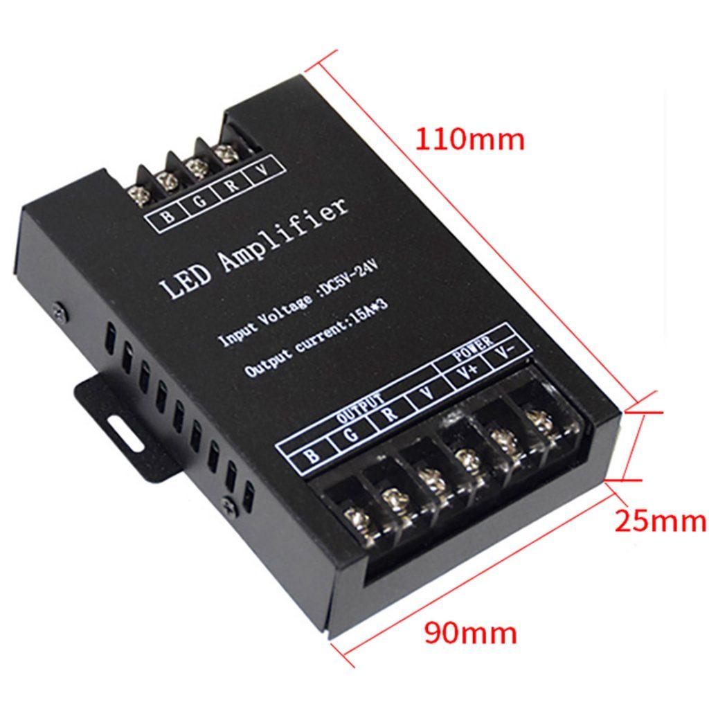 Kích thước của Bộ khuếch đại công suất led RGB 45A
