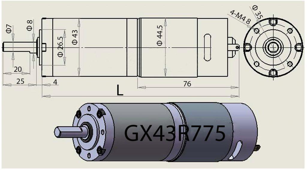 Kích thước của động cơ giảm tốc Planetary GX43775