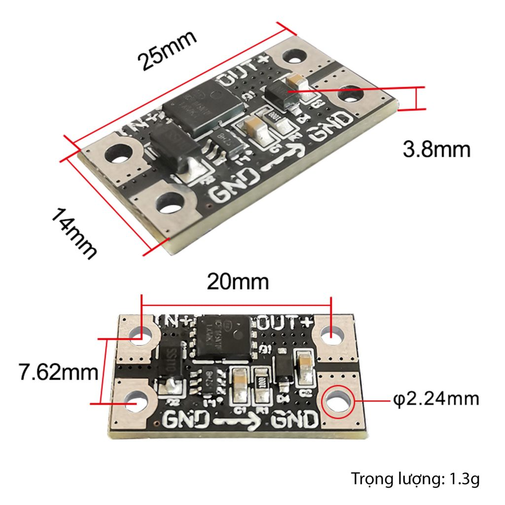 Kích thước của Mạch diode chống ngược DG7512 75V 12A