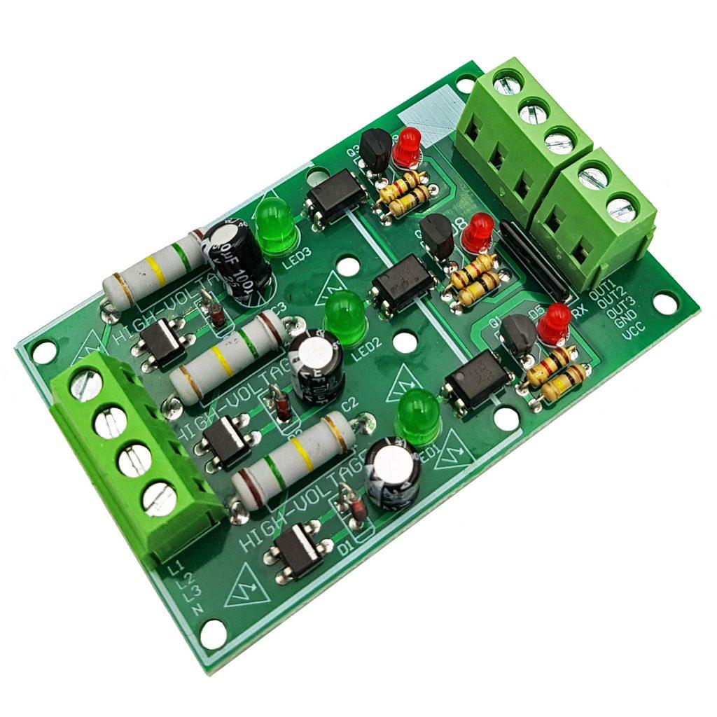 Module phát hiện điện áp 220V AC với Optocoupler cách ly 3 kênh