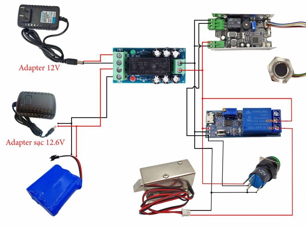 Sơ đồ cảm biến tham khảo cho Combo tự chế khóa vân tay có nguồn dự phòng