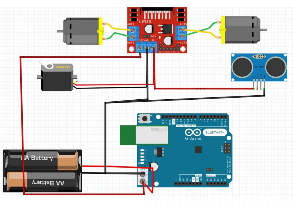 Sơ đồ đấu nối của Combo tự làm xe 3 bánh tránh vật cản Arduino