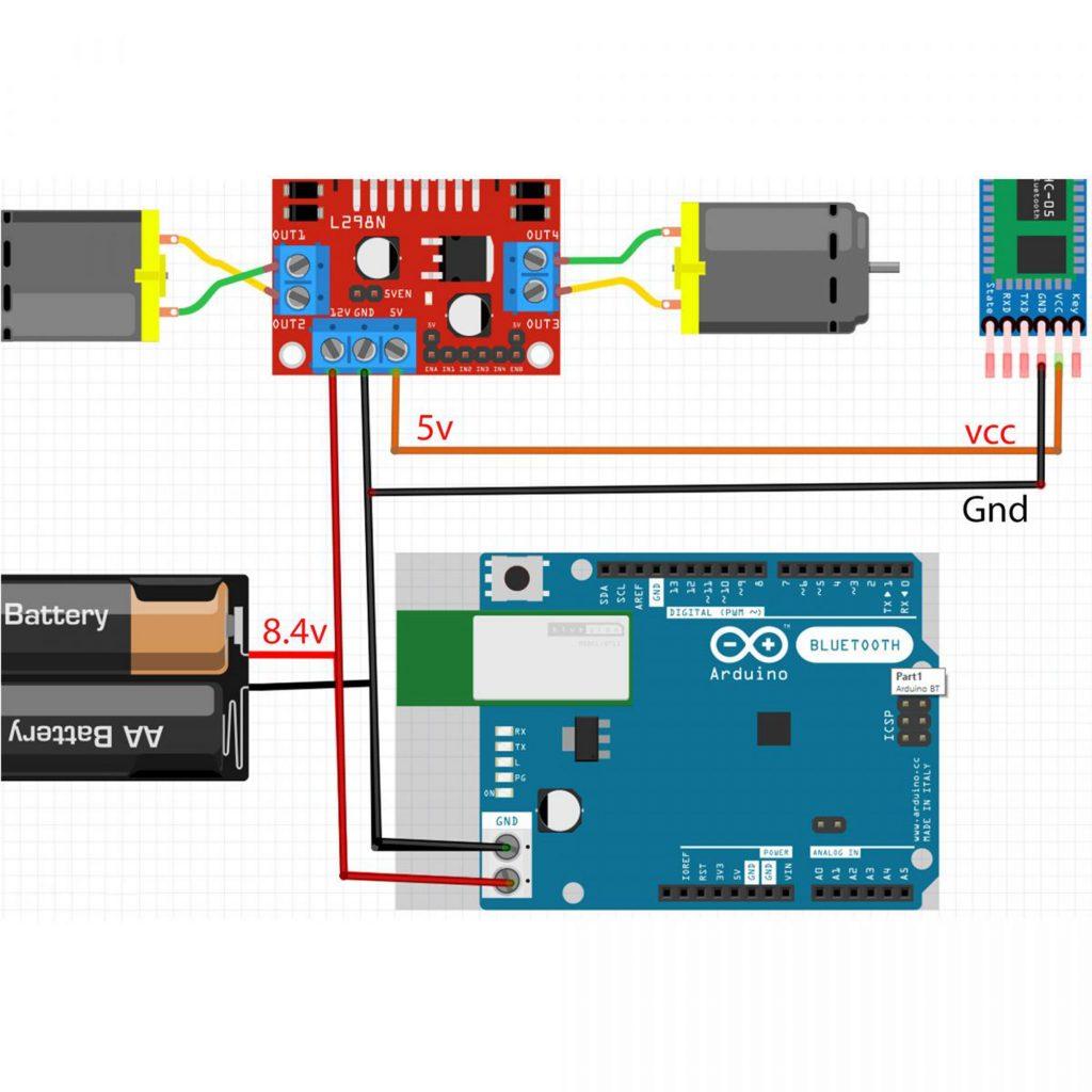 Sơ đồ đấu nối nguồn Combo tự làm xe 3 bánh bluetooth Arduino