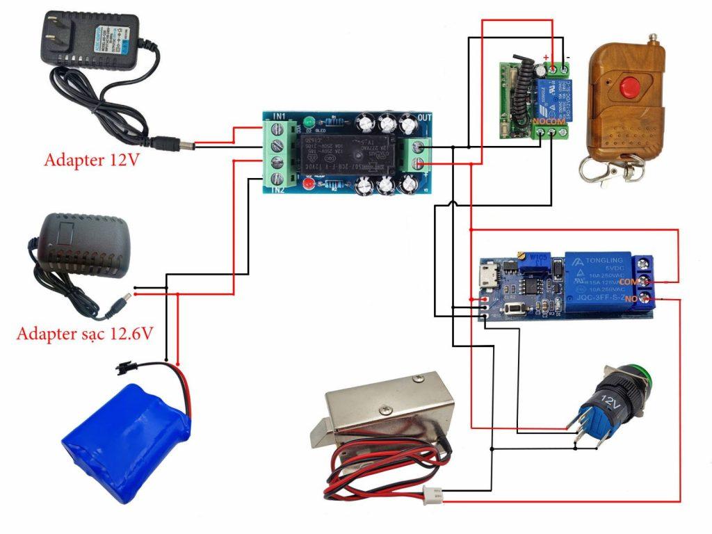 Sơ đồ đấu nối tham khảo cho Combo tự chế khóa cửa remote có nguồn dự phòng