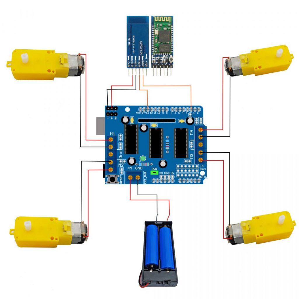 Sơ đồ đấu nối tham khảo cho Combo xe đa hướng Arduino - Điều khiển bluetooth
