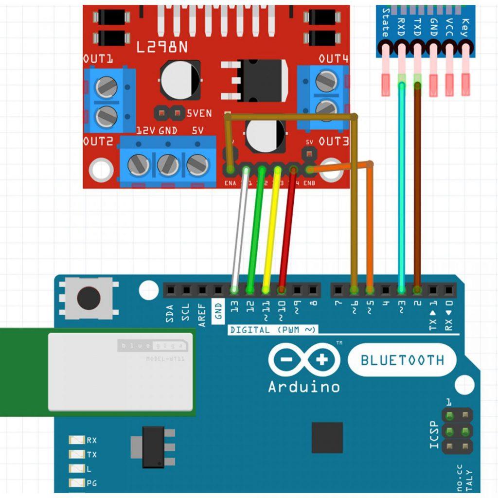 Sơ đồ đấu nối tín hiệu Combo tự làm xe 3 bánh bluetooth Arduino