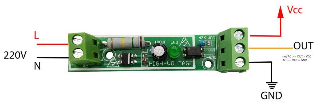 Sơ đồ Module phát hiện điện áp 220V AC với Optocoupler cách ly 1 kênh