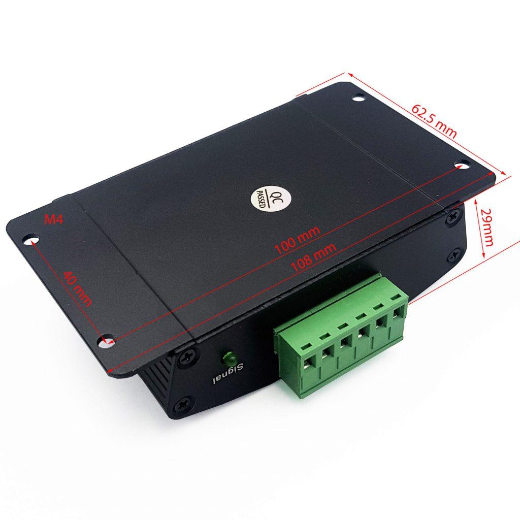 Kích thước của Bộ điều khiển LED RGB nháy theo nhạc 12-24VDC