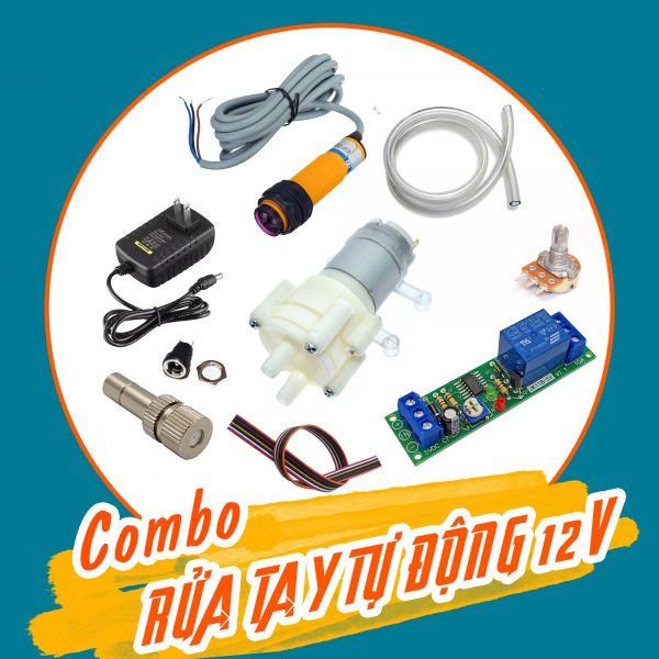 Combo tự chế máy rửa tay tự động 12VDC