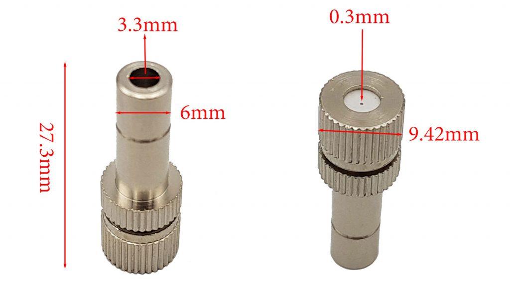 Đầu béc phun sương ống 6mm lỗ 0.3mm