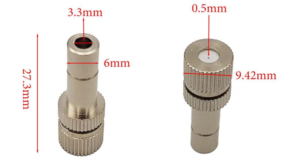 Đầu béc phun sương ống 6mm lỗ 0.5mm