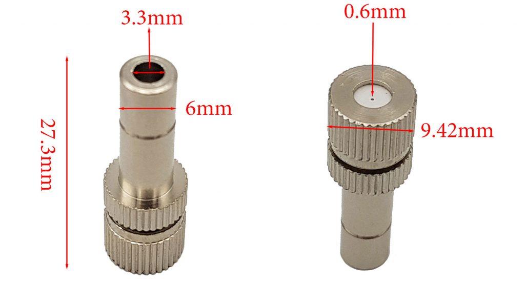 Đầu béc phun sương ống 6mm lỗ 0.6mm